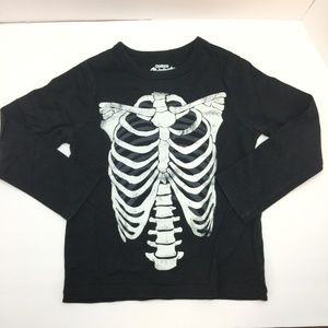Oshkosh Black w/white Skeleton LS Tee Shirt SZ 5